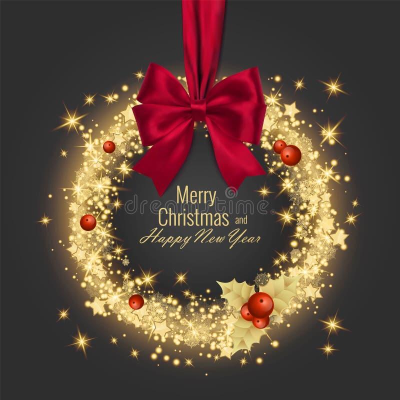 Hälsningkort 2018, vektorillustration för glad jul och för lyckligt nytt år fotografering för bildbyråer