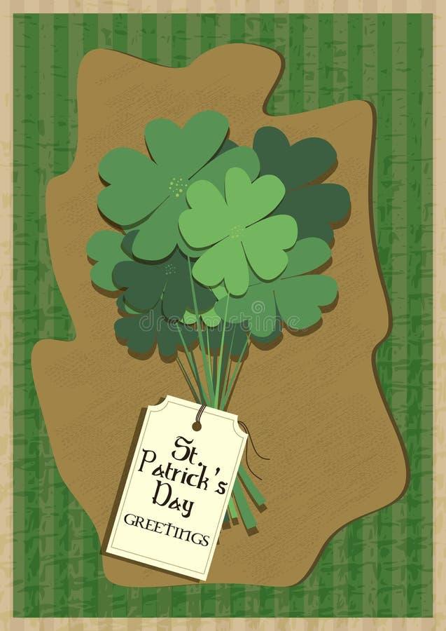 Hälsningkortdesignen dekorerade med för St Patrick för växt av släktet Trifolium lycklig beröm för dag ` s royaltyfri illustrationer