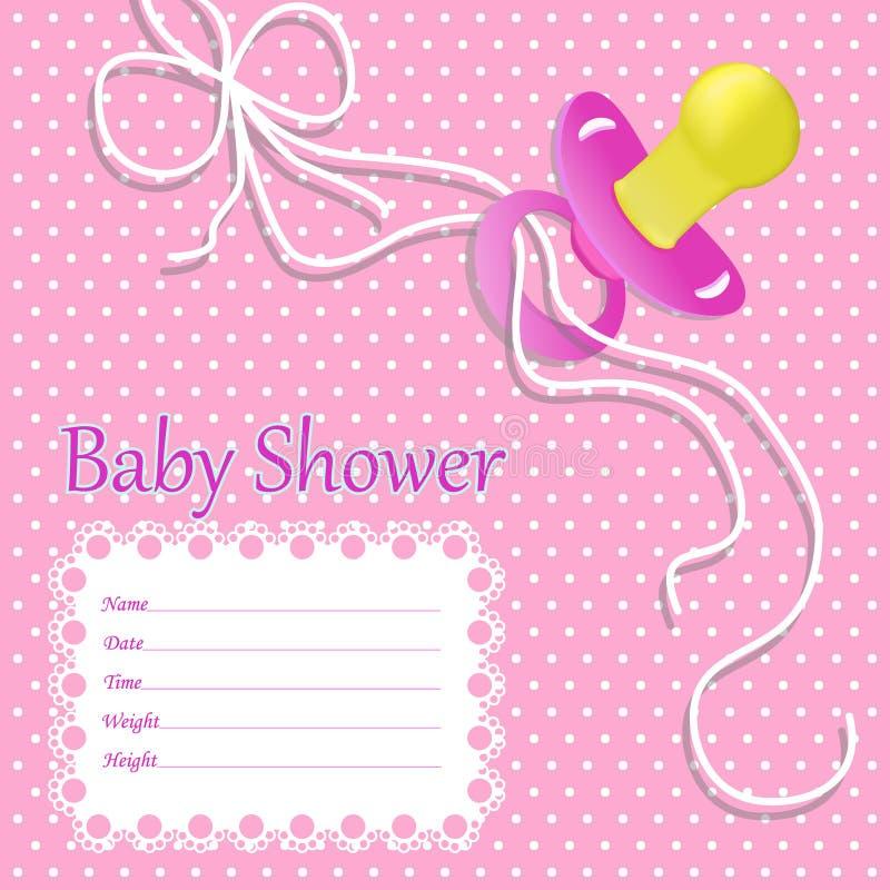 Hälsningkortet för behandla som ett barn flickan på baby shower Baby showerinbjudan med nippeln, bandet för behandla som ett barn vektor illustrationer