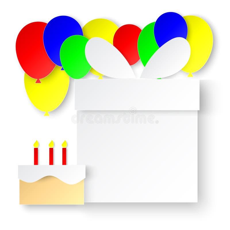 Hälsningkortet för den lyckliga födelsedagen med den vita gåvaasken, färgrika ballonger och kakabeståndsdelar skyler över brister royaltyfri illustrationer