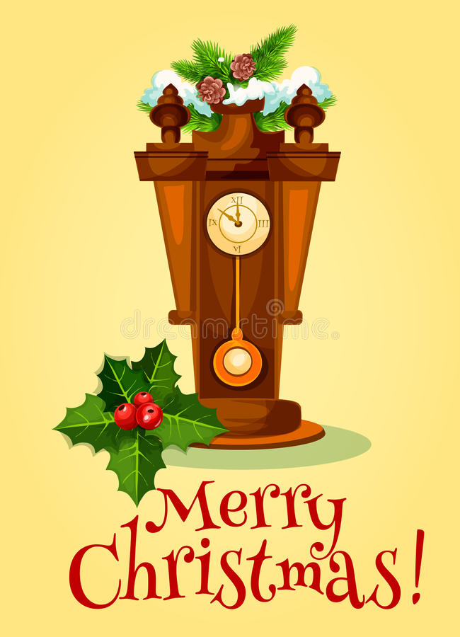 Hälsningkortet för det nya året med klockan och sörjer trädet stock illustrationer