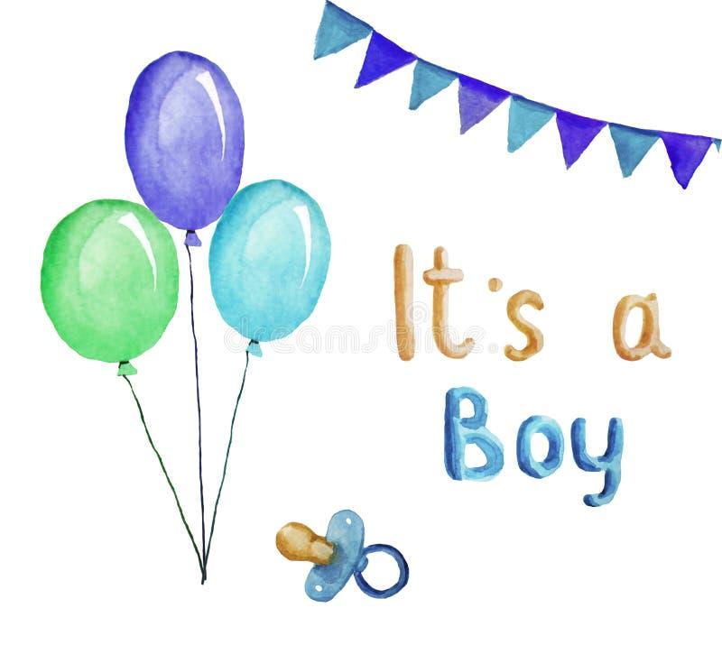 Hälsningkortet för ett nyfött behandla som ett barn, det är en pojke, vattenfärgillustration royaltyfri illustrationer