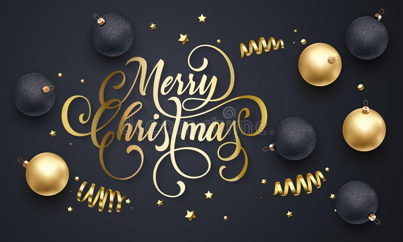 Hälsningkortet för glad jul av guld- garneringbollar, guld som blänker konfettier, och stjärnor blänker på högvärdig svart bakgru royaltyfri illustrationer