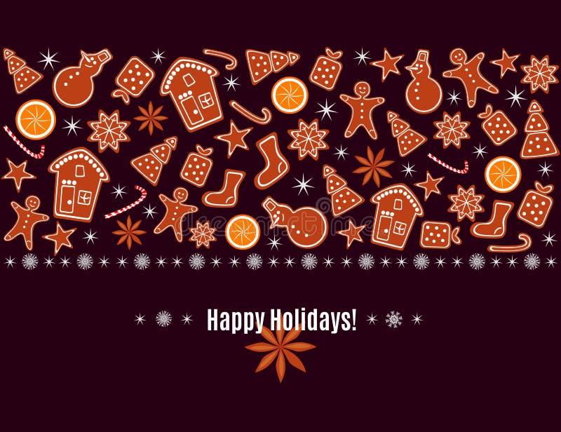 Hälsningkortet för glad jul och för det lyckliga nya året med pepparkakakakor, apelsin, mousserar och snöflingagränsen som isoler royaltyfri illustrationer