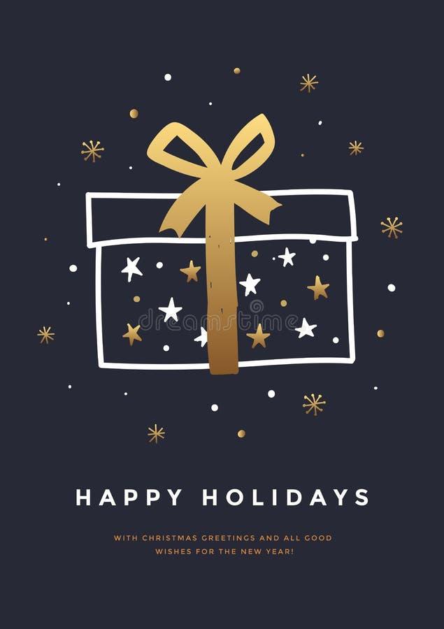 Hälsningkortet för jul och för det lyckliga nya året med dekorativa beståndsdelar semestrar Hand-dragen gåvaask med det guld- ban royaltyfri illustrationer