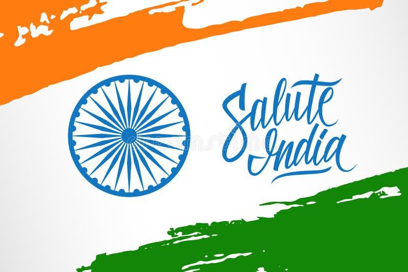Hälsningkortet med det Ashoka hjulet, den handskrivna ordhonnören Indien och borsteslaglängder i indisk nationsflagga färgar vektor illustrationer