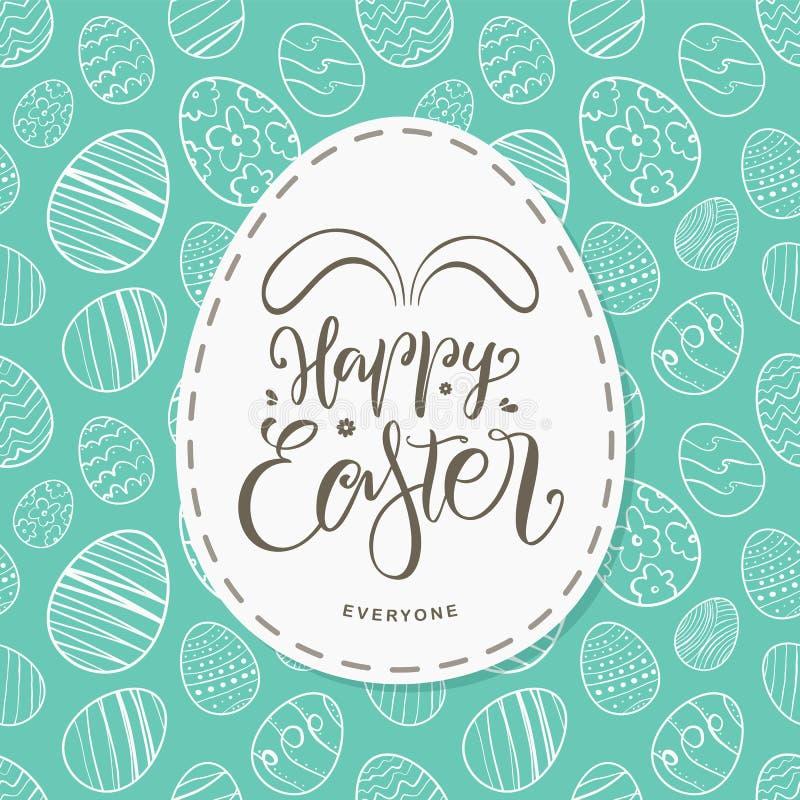 Hälsningkortet med handen drog ägg, handskriven bokstäver av den lyckliga påsken alla med kaniner gå i ax vektor illustrationer