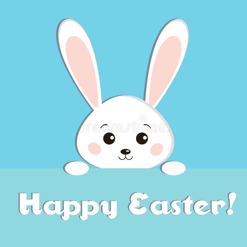 Hälsningkortet med söt vit påsk ser ut kanin på blå bakgrund royaltyfri illustrationer