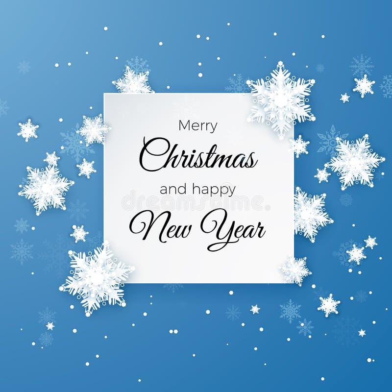 Hälsningskort för glad jul på blå bakgrund Flinga för papperssnittsnö lyckligt nytt år Vektorillustration för nytt år snowfall royaltyfri illustrationer