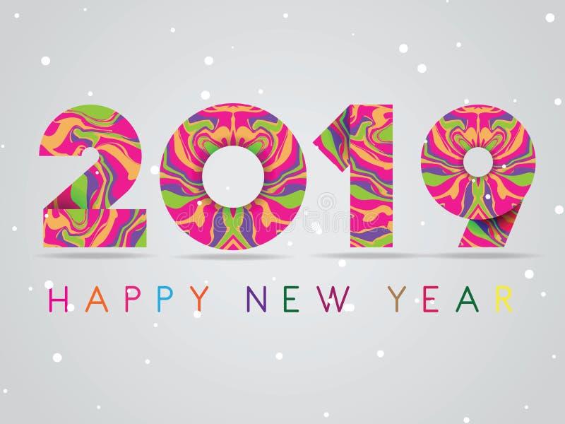 Hälsningskort 2019 Lyckligt nytt år för vektor med färgrika krabba modeller med kulör 2019 vektor illustrationer