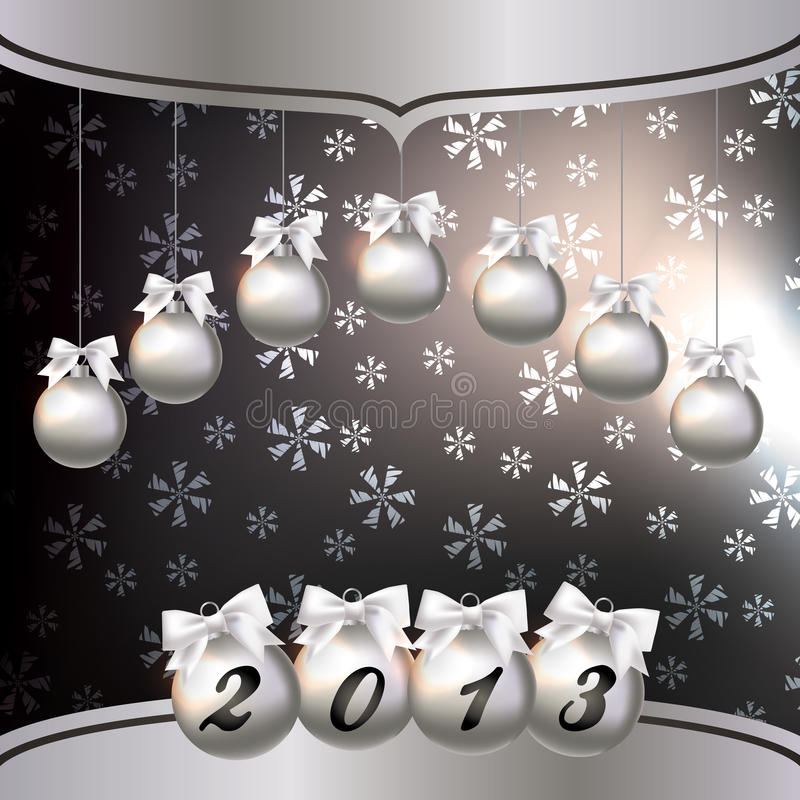 Hälsningskort med det nya året 2013 stock illustrationer