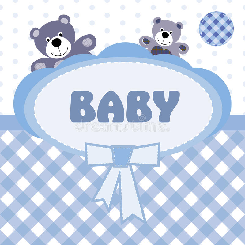 Hälsningskort med födelsen av en behandla som ett barnpojke royaltyfri illustrationer