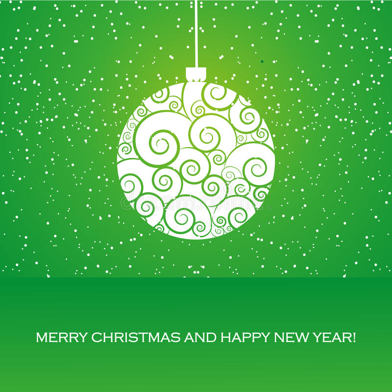 Hälsningskort med julbollen royaltyfri illustrationer