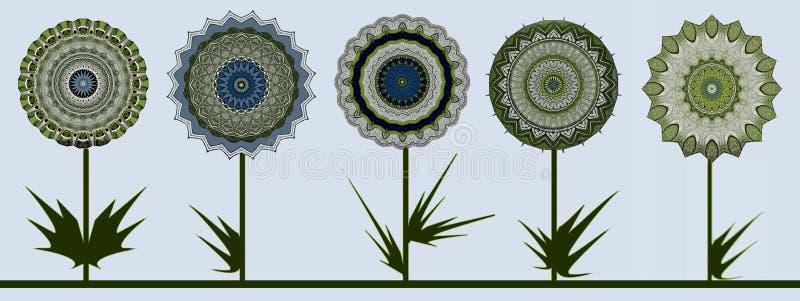 Hälsningskort med mörka blommor vektor illustrationer