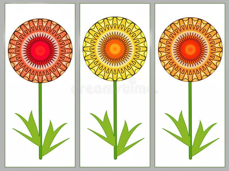 Hälsningskortet med gul orange sommar tre blommar stock illustrationer