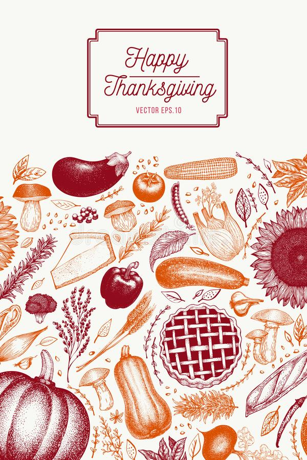 Hälsningtacksägelsekort i retro stil Lycklig mall för tacksägelsedagdesign Drog illustrationer för vektor hand vektor illustrationer