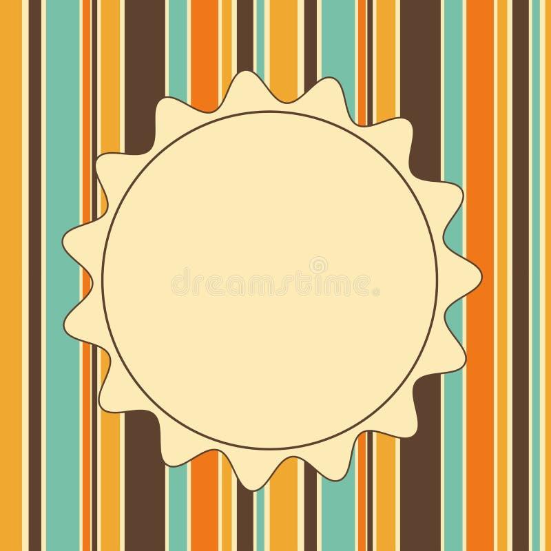 Hälsningtappning gjorde randig den vertikala banerkortinbjudan med cirkelramen för text vektor illustrationer