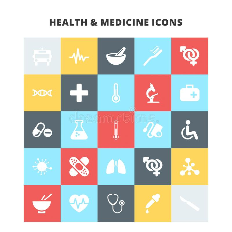 Hälso- och medicinsymboler stock illustrationer