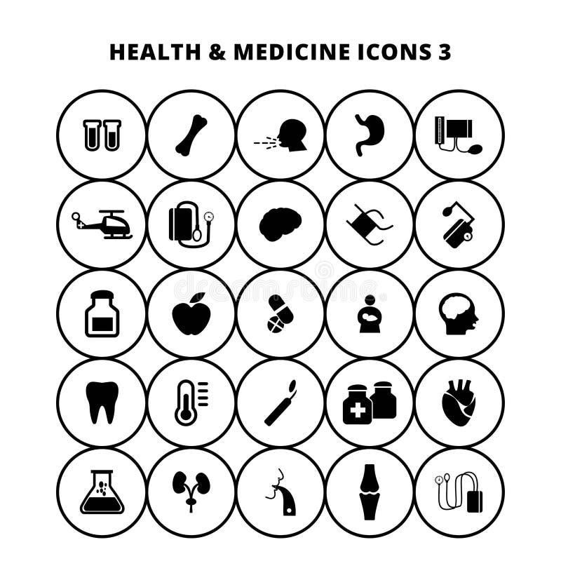 Hälso- och medicinsymboler vektor illustrationer