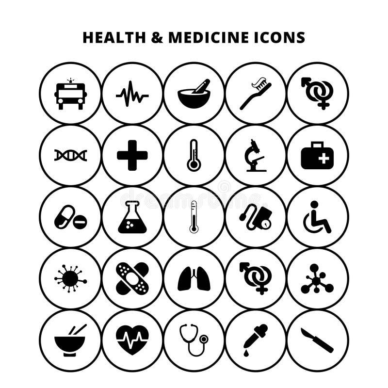 Hälso- och medicinsymboler royaltyfri illustrationer
