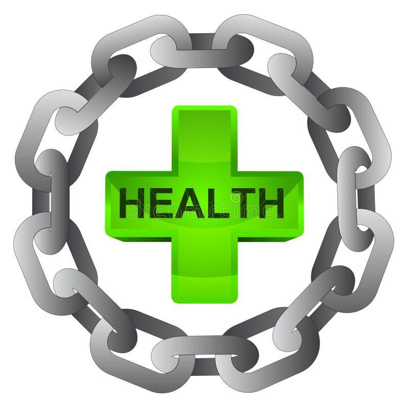 Hälsokors i stark stålcirkelkedja  royaltyfri illustrationer