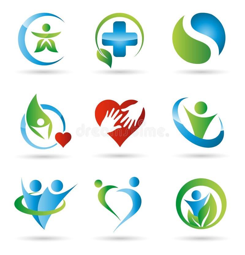 hälsologoer stock illustrationer
