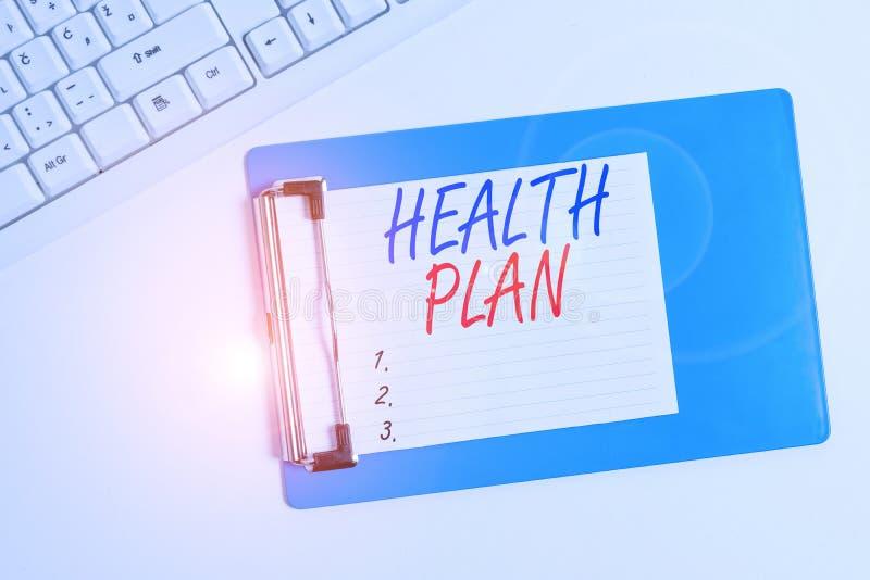 Hälsoplan för Word-skrivning Företagskoncept för enheter som tillhandahåller täckning för bestämda vårdtjänster för fast läggning royaltyfri bild