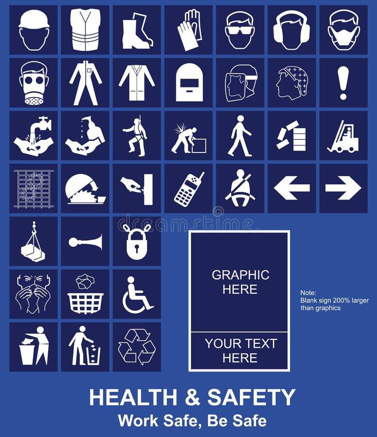 hälsosäkerhetstecken royaltyfri illustrationer