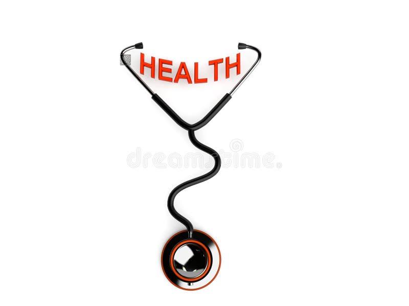 hälsostetoskoptext royaltyfri illustrationer
