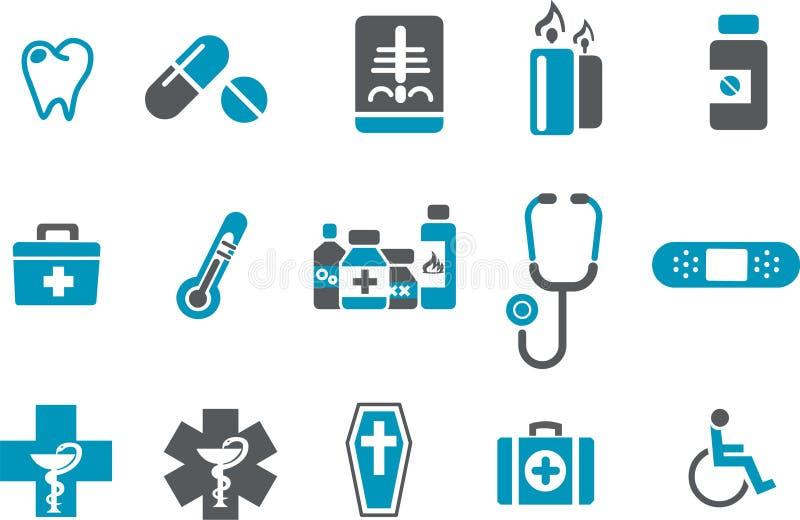 hälsosymbolsset royaltyfri illustrationer