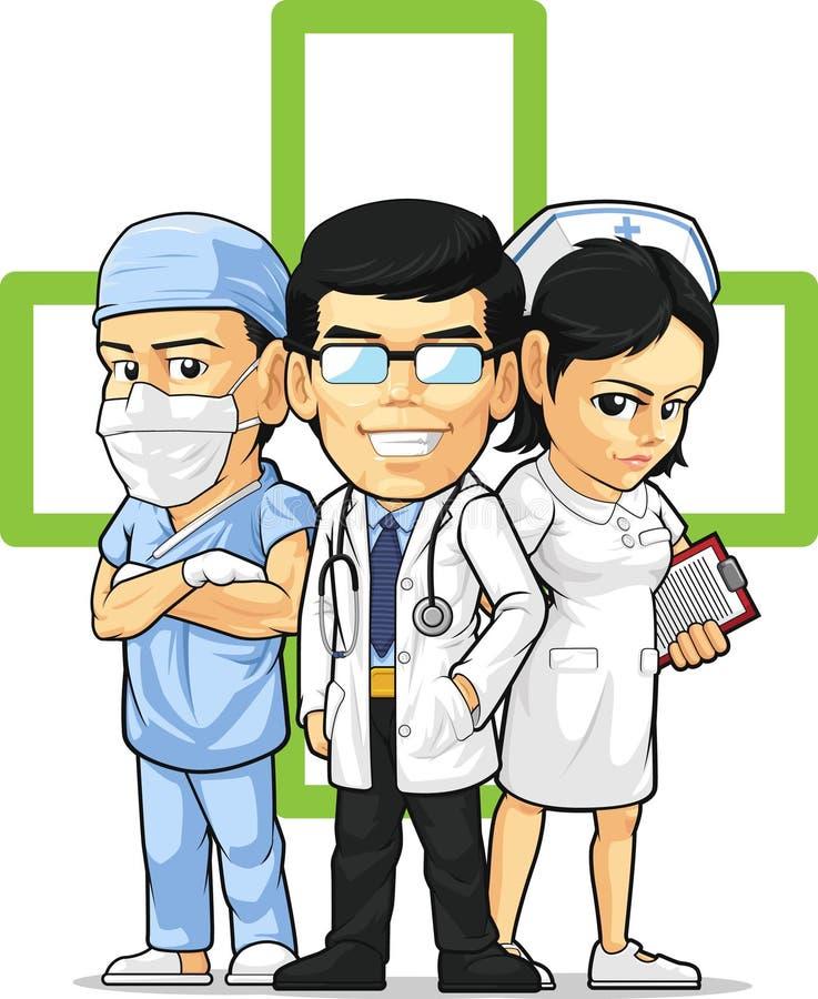 Hälsovård eller medicinsk personal - doktor, sjuksköterska & Su royaltyfri illustrationer