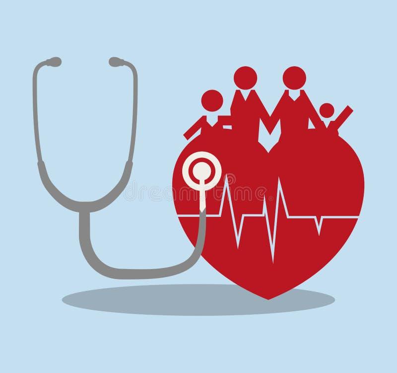 hälsovård för familjhjärtaläkarundersökning royaltyfri illustrationer