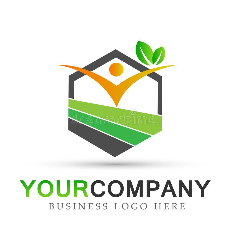 Hälsovård för folknaturfastighet, design för logo för symbol för symboler för medicinsk byggnad för natur på vit bakgrund vektor illustrationer