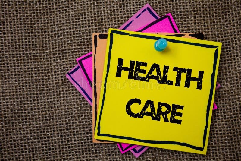 Hälsovård för ordhandstiltext Affärsidéen för medicinsk underhållsförbättring av fysiska mentala villkor skyler över brister idém royaltyfri illustrationer