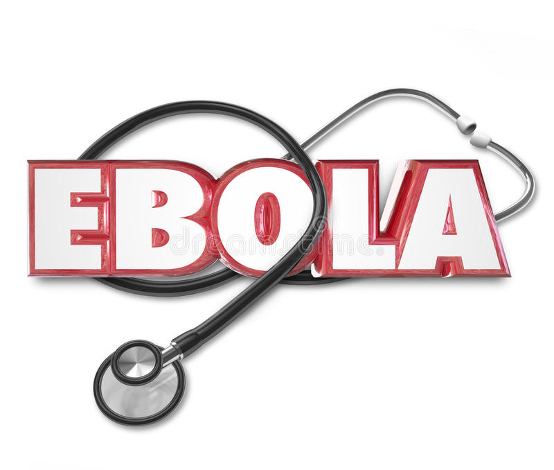 Hälsovård för sjukdom för fest för bot för Ebola 3d ordstetoskop vektor illustrationer