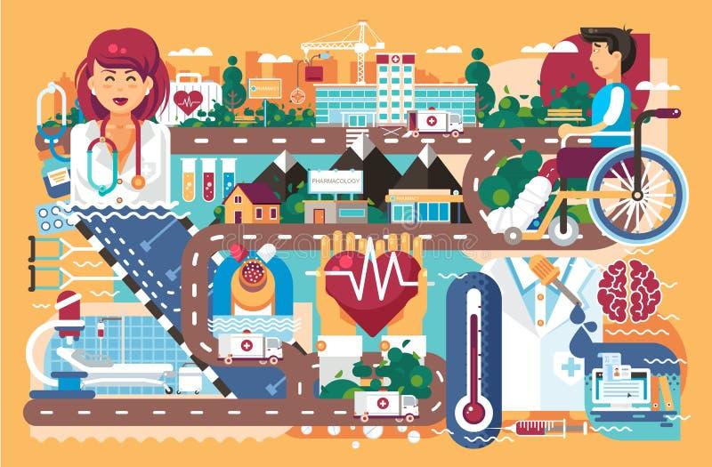 Hälsovård för vektorillustrationmedicin av den tålmodiga sjuksköterskan för doktor för återställning för sjukdom för behandling f royaltyfri illustrationer