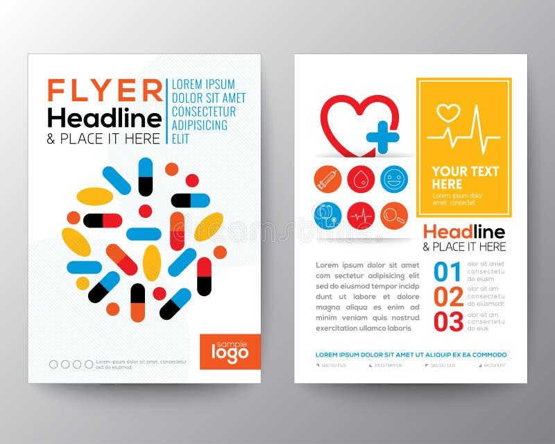 Hälsovård- och för reklamblad för läkarundersökningaffischbroschyr designorientering royaltyfri illustrationer