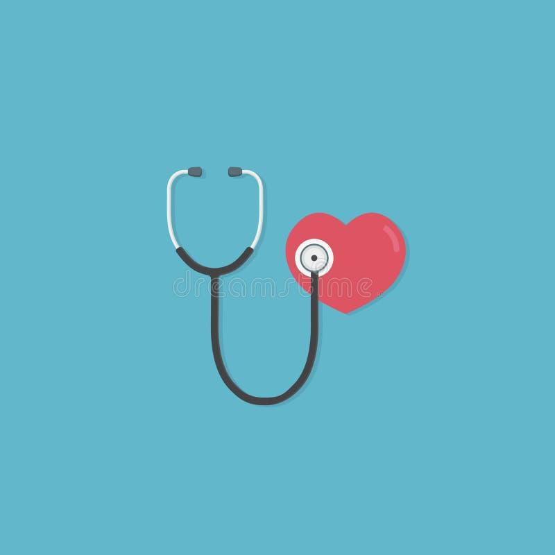 Hälsovård- och medicinbegrepp Plan design av röd hjärta och stetoskopet medicinskt hjälpmedel för att diagnostisera av sjukdomar  stock illustrationer