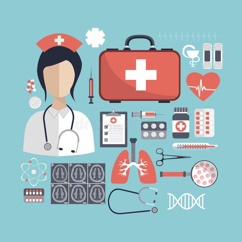 Hälsovård- och medicinbegrepp Plan illustration stock illustrationer