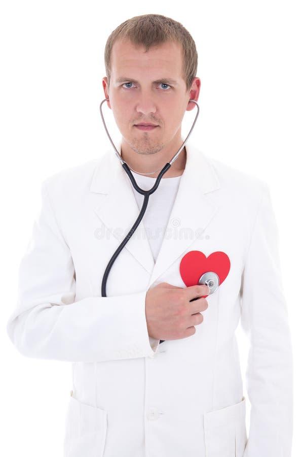 Hälsovårdbegrepp - doktor med stetoskopet som rymmer rött papper royaltyfria foton