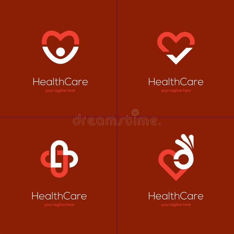 Hälsovårdlogouppsättning med hjärtaform stock illustrationer