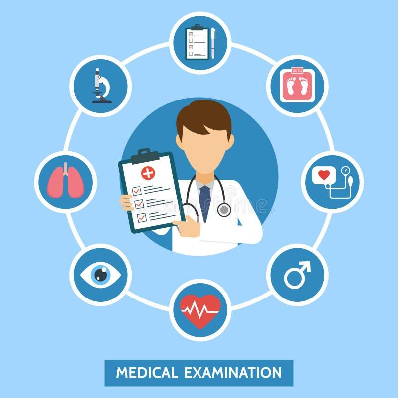 Hälsovårdservicebegrepp med infographicsbeståndsdelar Medicinsk undersökning Baner med doktorn och medicinska prov Online-doktor vektor illustrationer