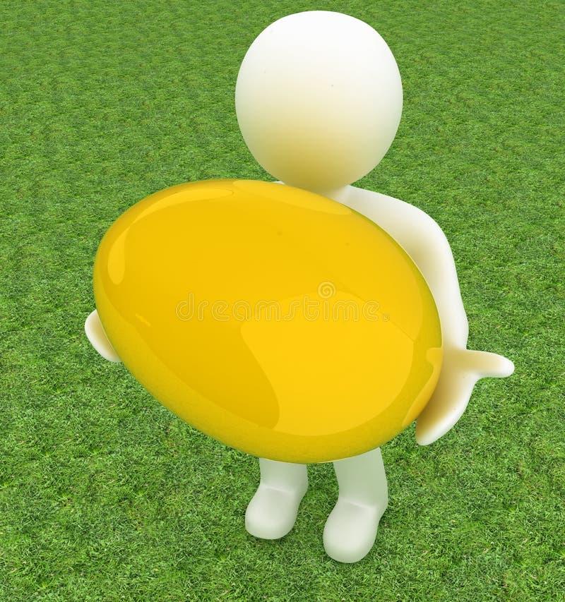 hält kleine Person 3d das große Osterei in einer Hand an Bild 3d Auf stock abbildung