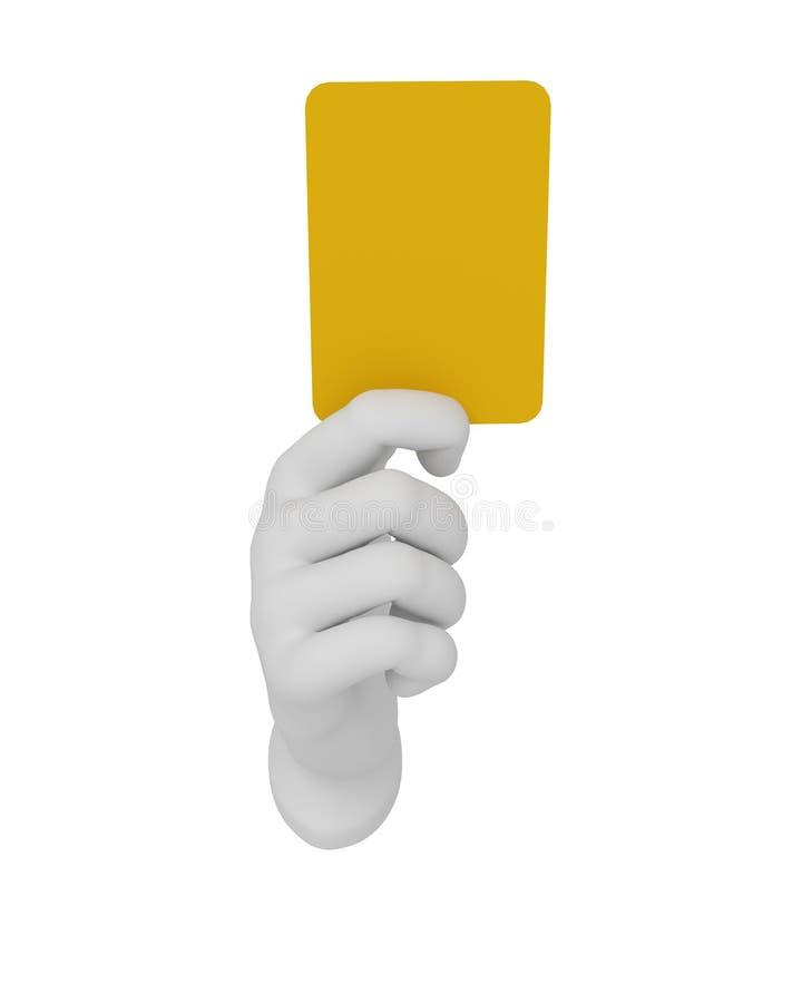 hält offene Hand des weißen Menschen 3d eine gelbe Karte Weißer Hintergrund lizenzfreie abbildung