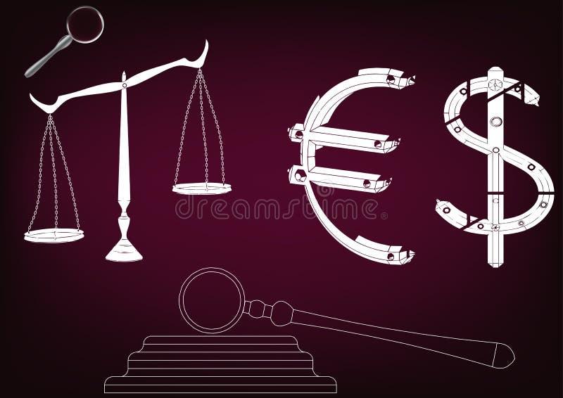 Hämmern Sie Richter, Skalen von Gerechtigkeit und den Euro stock abbildung