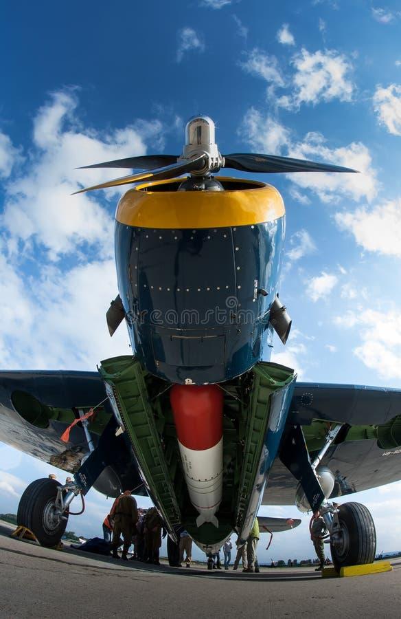 hämnarebombplanen grumman torpederar fotografering för bildbyråer