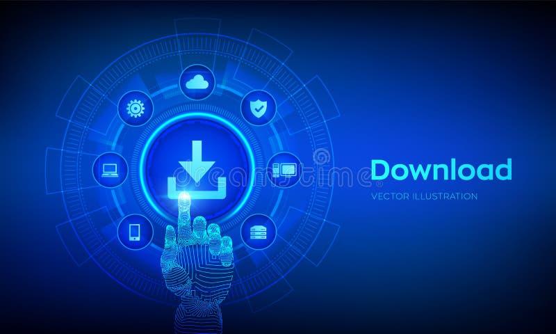 Hämta datalagring Nedladdning av moln Installationssymbol Robotisk hand som rör det digitala gränssnittet Nätverk för företagstek stock illustrationer