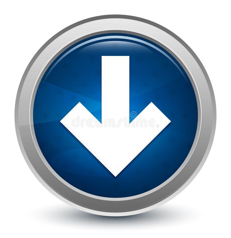 Hämtningsikonen börjar med blanka, blå, runda knappbeskrivningar vektor illustrationer