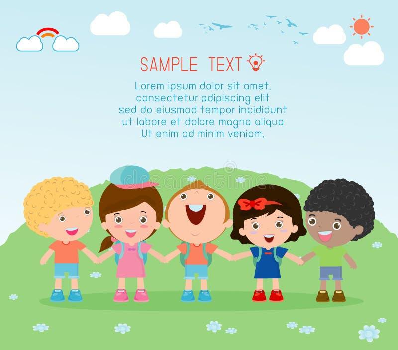 Händchenhalten, Kinderhändchenhalten auf Hintergrund, multiethnisches Kinderhändchenhalten, viel glückliches Kinderhändchenhalten vektor abbildung