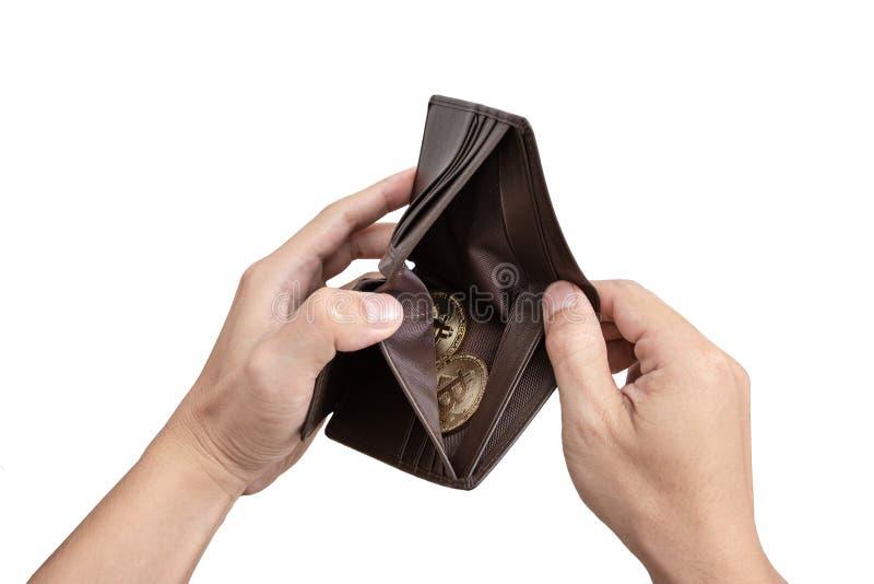 Hände öffnen Schlüsselgeldbörsenkonzept, lokalisierten weißen Hintergrund lizenzfreies stockbild